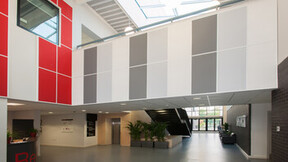 Heartlands Academy, Rockfon Color-all Plaster Concrete Charcoal Chili wall absorbers, Rockfon Contour, Sonar B, Scholar, Hygienic, education