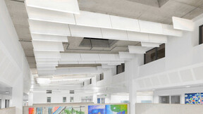 Phoenix Academy, UK, Telford, 2,000m2, Seymour Harris, Kier Construction, Phoenix Academy, Global Contract Interiors Ltd., Simon Jones, White, Rockfon Contour, Suspended, Baffles